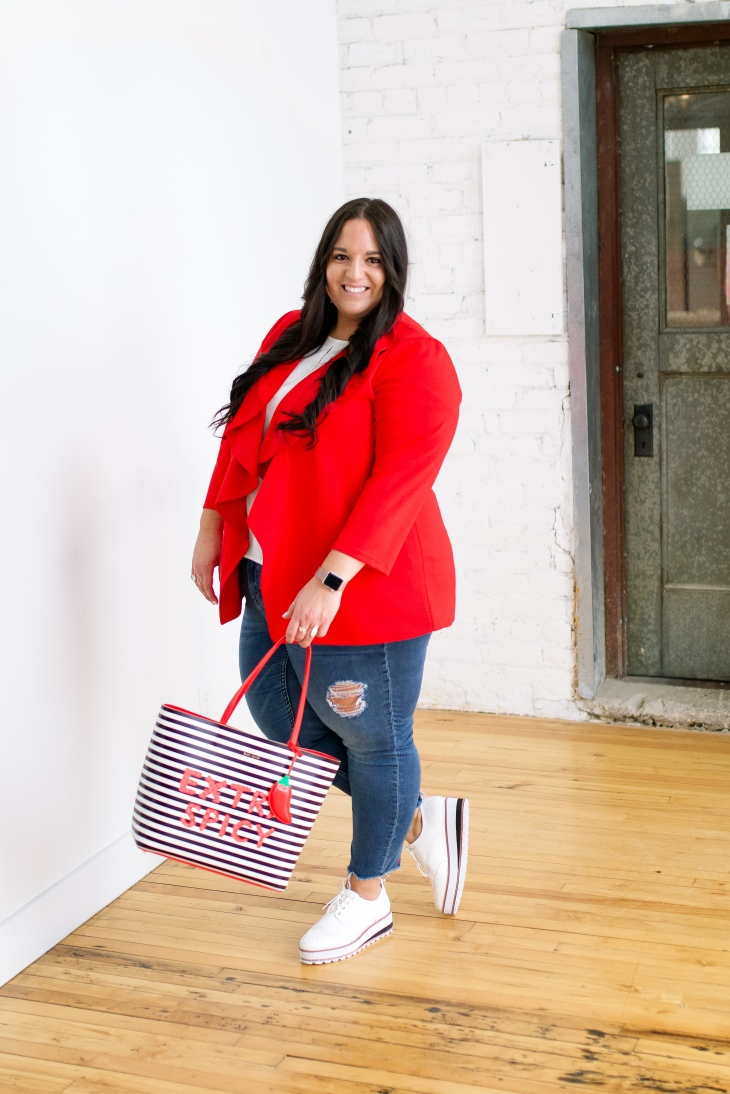 valentines day look for the office, red blazer, fun striped tote