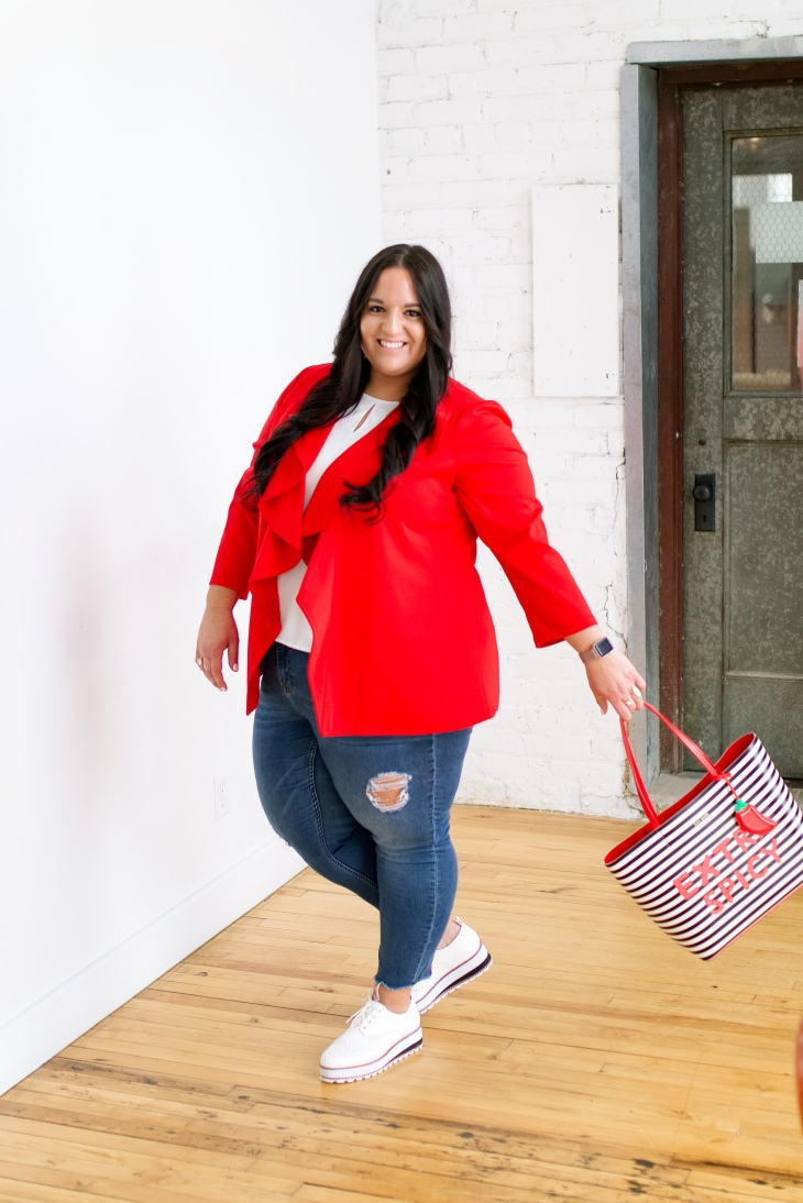 valentines day look for the office, red blazer, kate spade tote