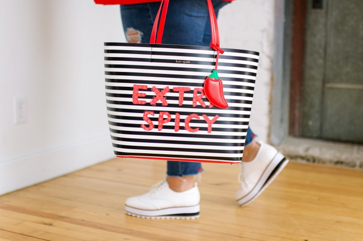 extra spicy graphic tote, kate spade