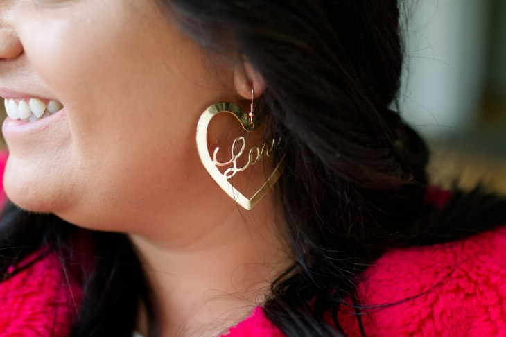 JustFab LOVE hoop earrings