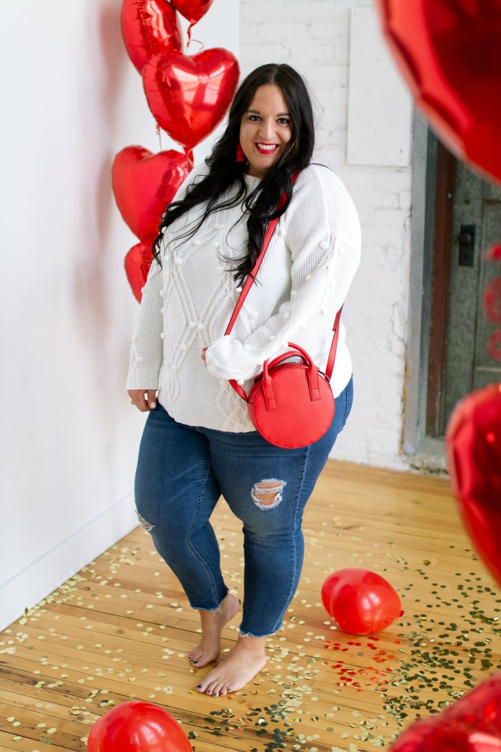 classic valentines day look, white sweater, red balloons