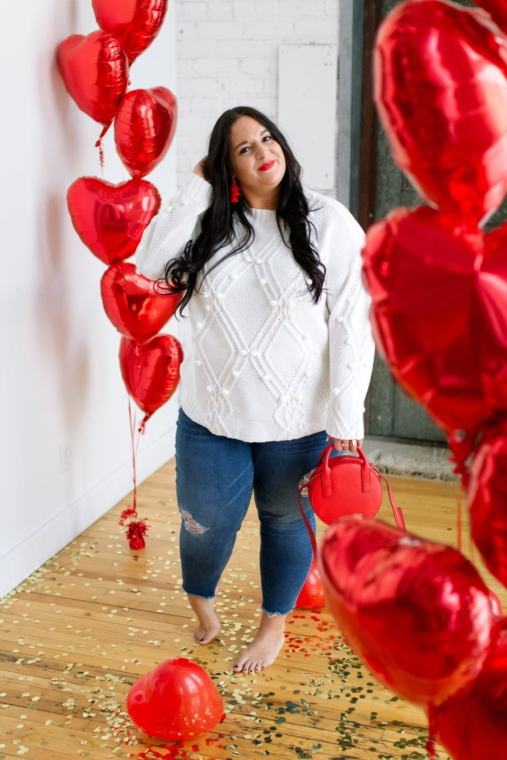 Classic valentines day look, red balloon, vday photoshoot